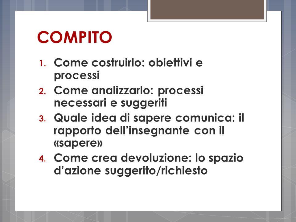 COMPITO Come costruirlo: obiettivi e processi