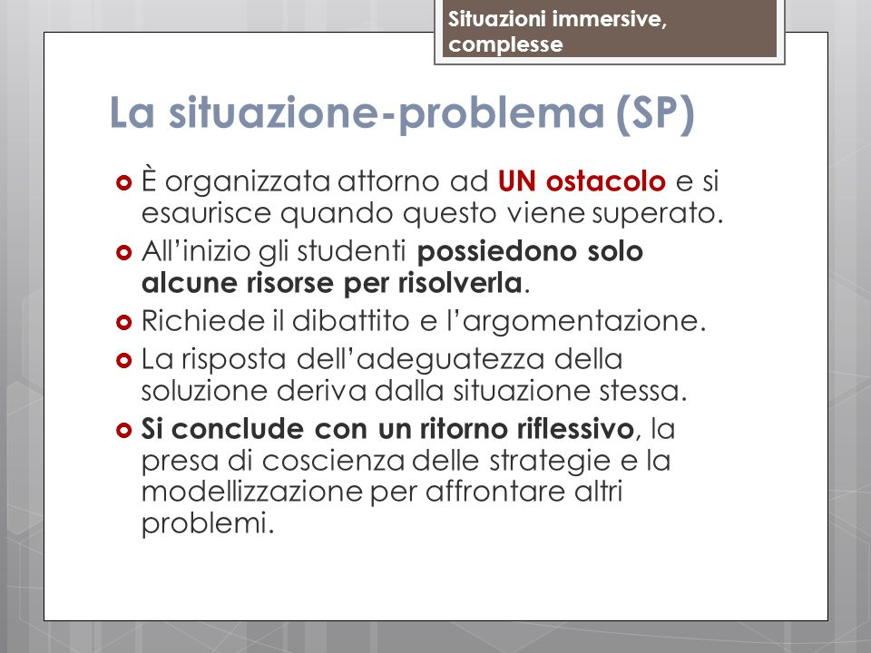La situazione-problema (SP)