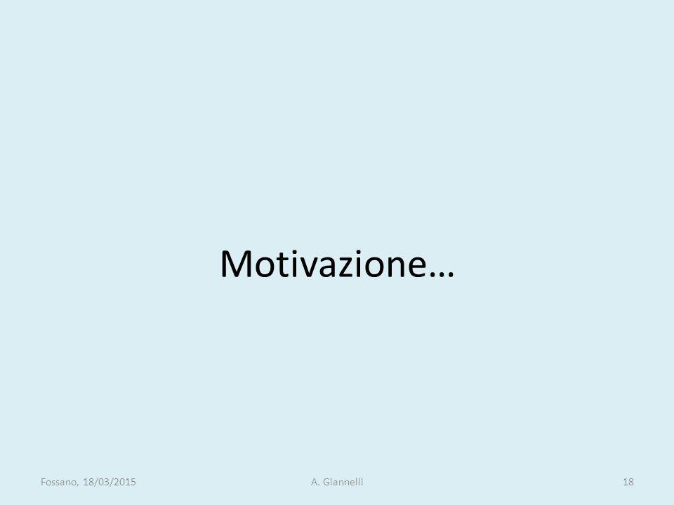 Motivazione… Fossano, 18/03/2015 A. Giannelli