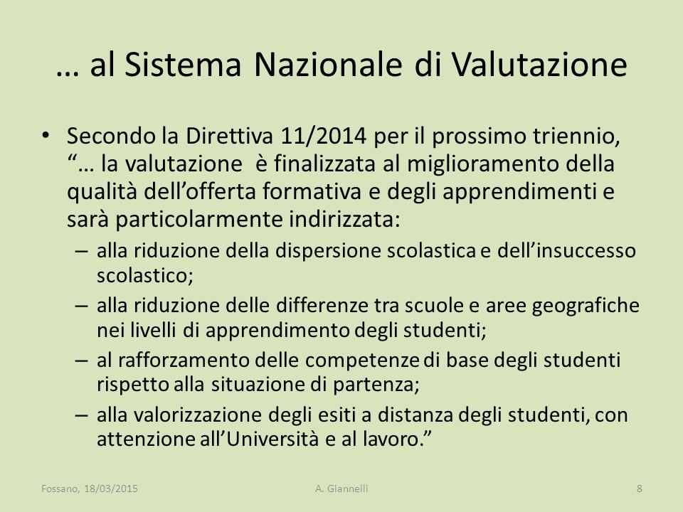 … al Sistema Nazionale di Valutazione
