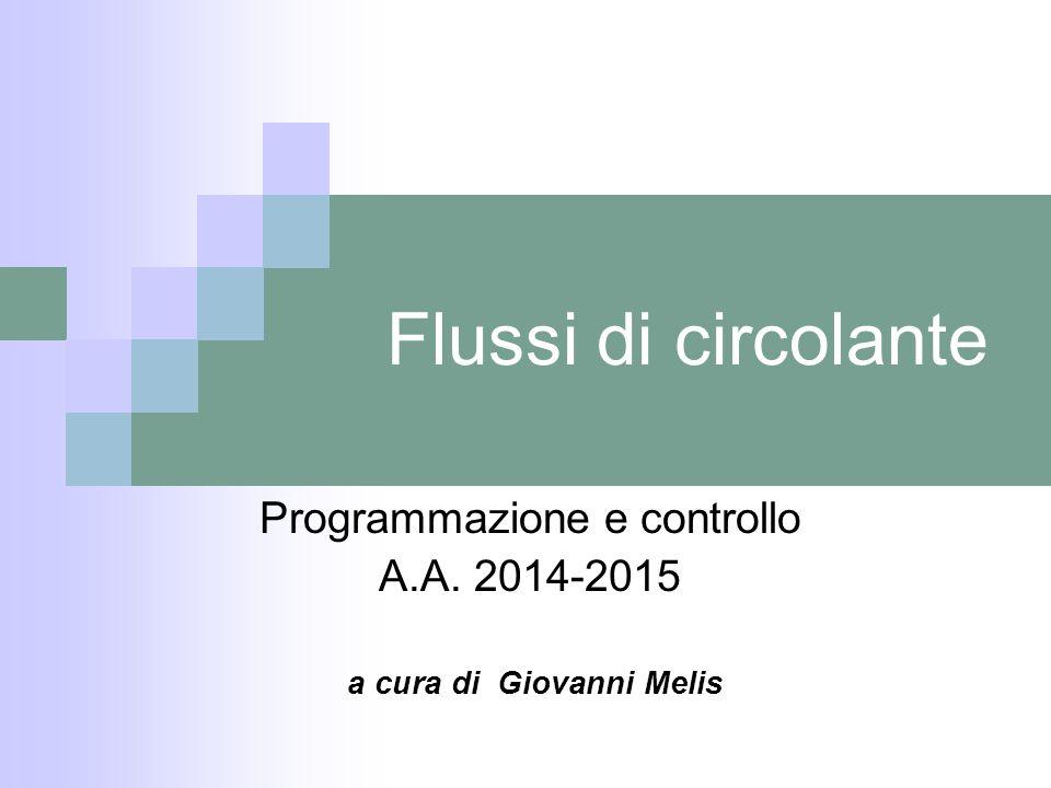 Programmazione e controllo A.A. 2014-2015 a cura di Giovanni Melis