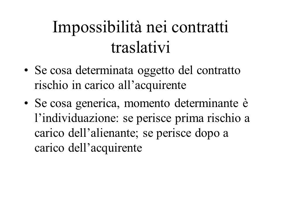 Impossibilità nei contratti traslativi
