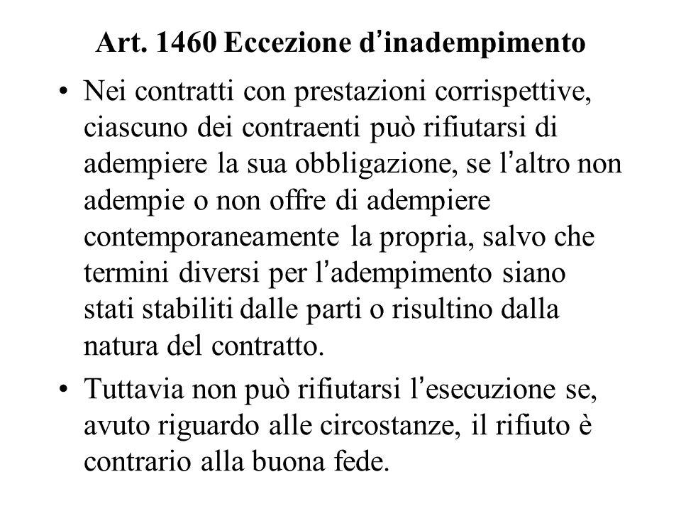 Art. 1460 Eccezione d'inadempimento