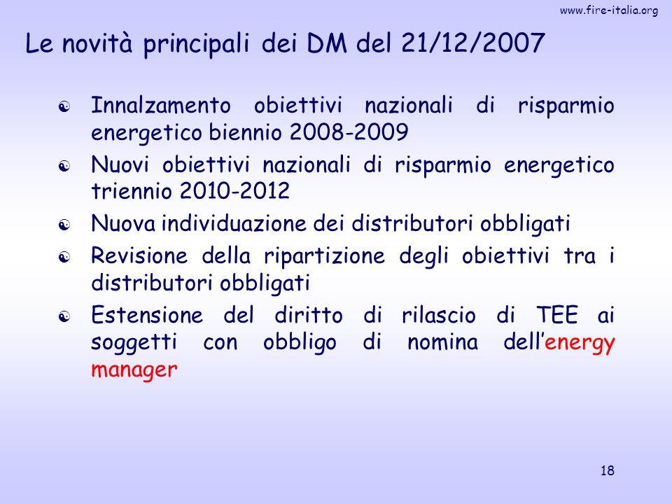 Le novità principali dei DM del 21/12/2007