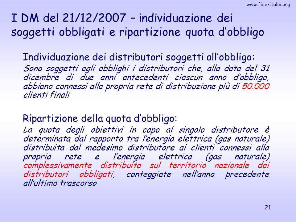 I DM del 21/12/2007 – individuazione dei soggetti obbligati e ripartizione quota d'obbligo