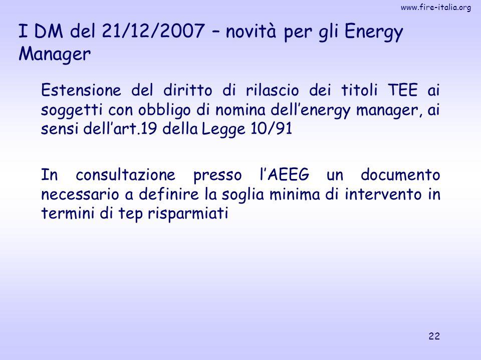 I DM del 21/12/2007 – novità per gli Energy Manager