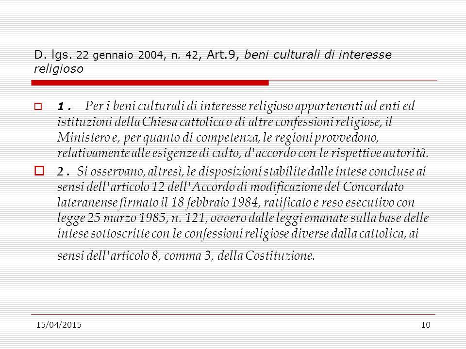 D. lgs. 22 gennaio 2004, n. 42, Art.9, beni culturali di interesse religioso