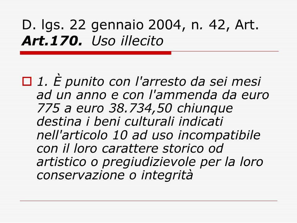 D. lgs. 22 gennaio 2004, n. 42, Art. Art.170. Uso illecito