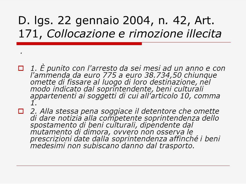 D. lgs. 22 gennaio 2004, n. 42, Art. 171, Collocazione e rimozione illecita