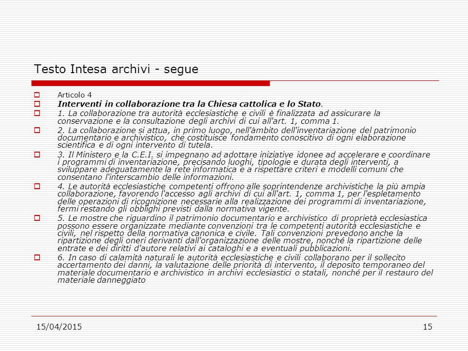 Testo Intesa archivi - segue