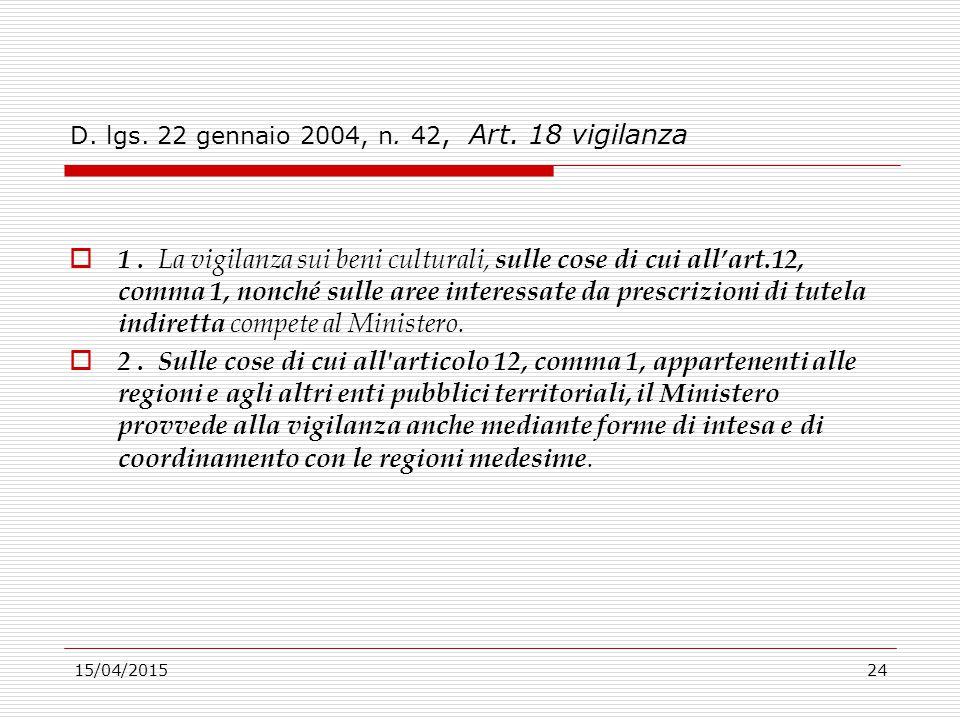 D. lgs. 22 gennaio 2004, n. 42, Art. 18 vigilanza