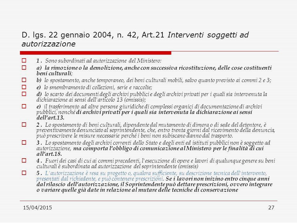 D. lgs. 22 gennaio 2004, n. 42, Art.21 Interventi soggetti ad autorizzazione