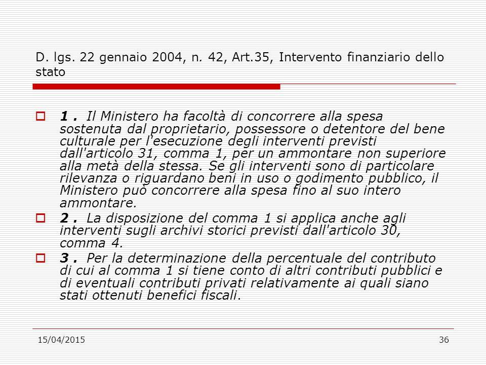 D. lgs. 22 gennaio 2004, n. 42, Art.35, Intervento finanziario dello stato