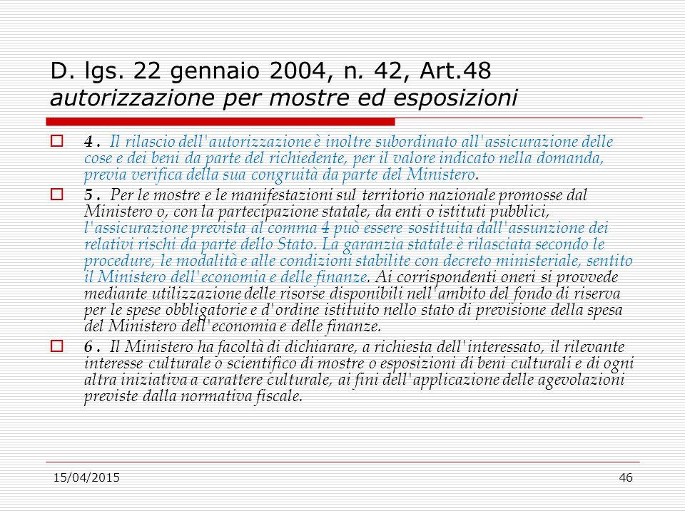 D. lgs. 22 gennaio 2004, n. 42, Art.48 autorizzazione per mostre ed esposizioni