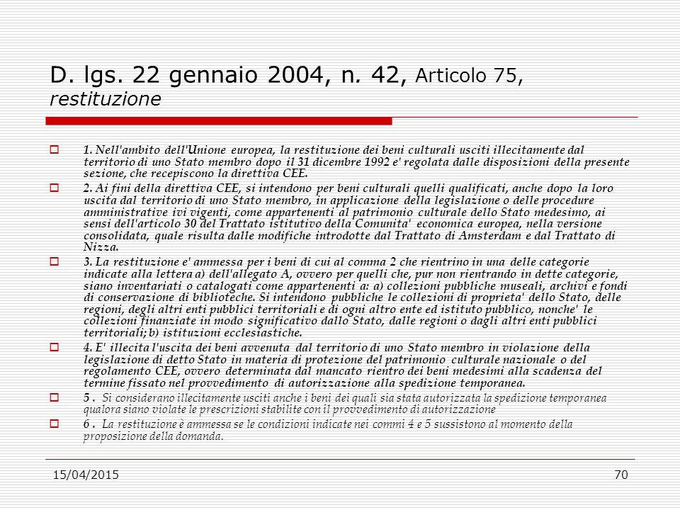 D. lgs. 22 gennaio 2004, n. 42, Articolo 75, restituzione