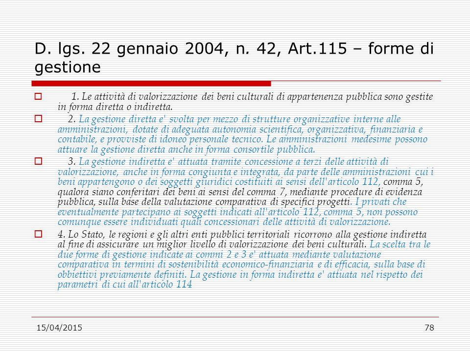 D. lgs. 22 gennaio 2004, n. 42, Art.115 – forme di gestione