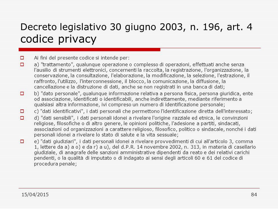 Decreto legislativo 30 giugno 2003, n. 196, art. 4 codice privacy