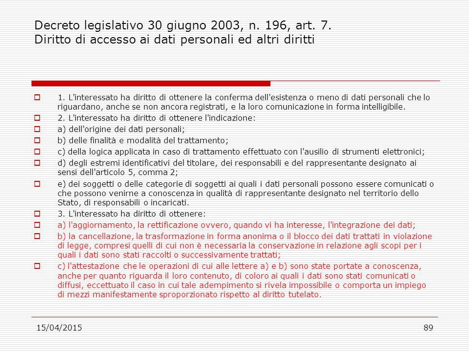 Decreto legislativo 30 giugno 2003, n. 196, art. 7
