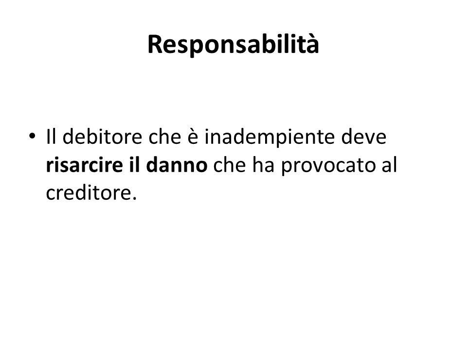 Responsabilità Il debitore che è inadempiente deve risarcire il danno che ha provocato al creditore.