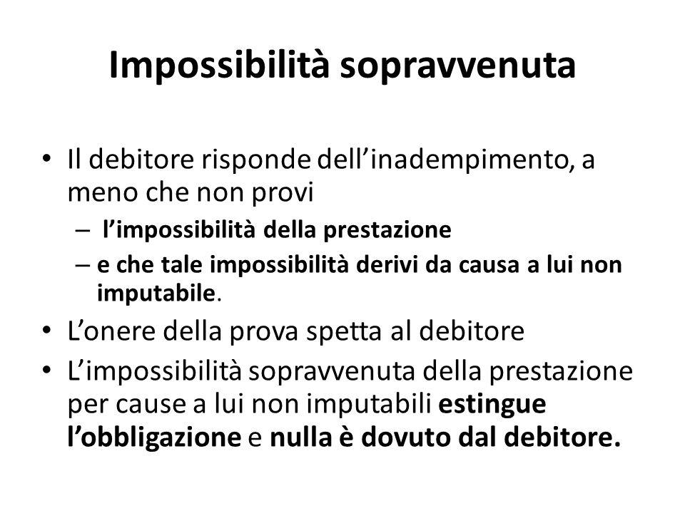 Impossibilità sopravvenuta