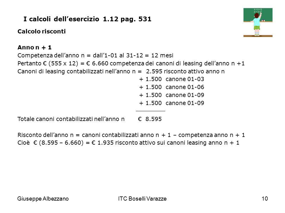 I calcoli dell'esercizio 1.12 pag. 531