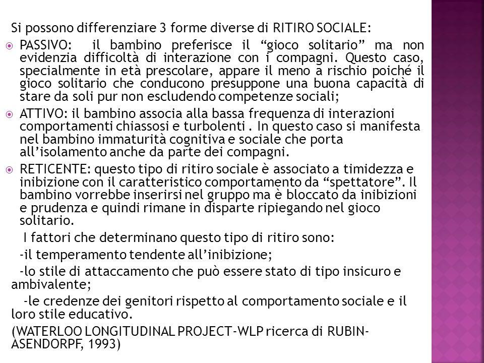 Si possono differenziare 3 forme diverse di RITIRO SOCIALE: