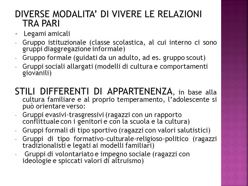 DIVERSE MODALITA' DI VIVERE LE RELAZIONI TRA PARI
