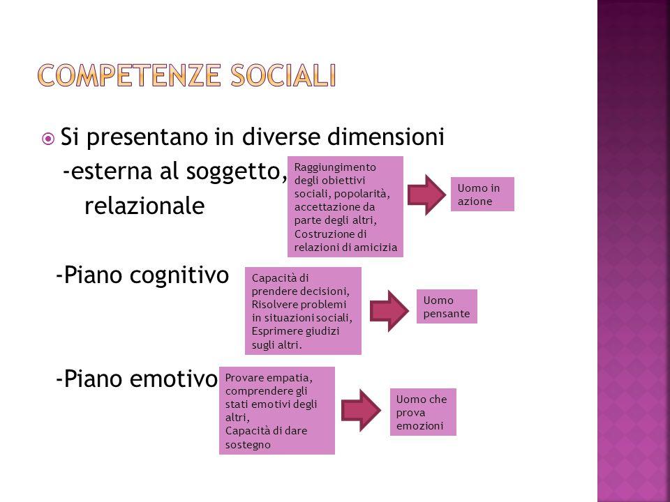 Competenze sociali Si presentano in diverse dimensioni