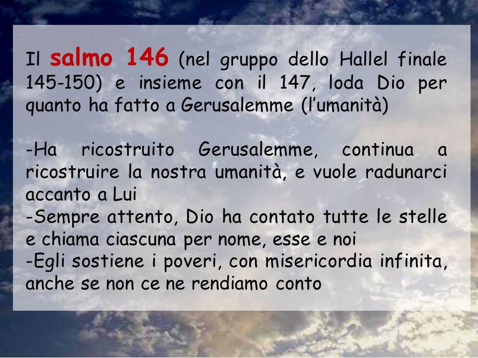 Il salmo 146 (nel gruppo dello Hallel finale 145-150) e insieme con il 147, loda Dio per quanto ha fatto a Gerusalemme (l'umanità)