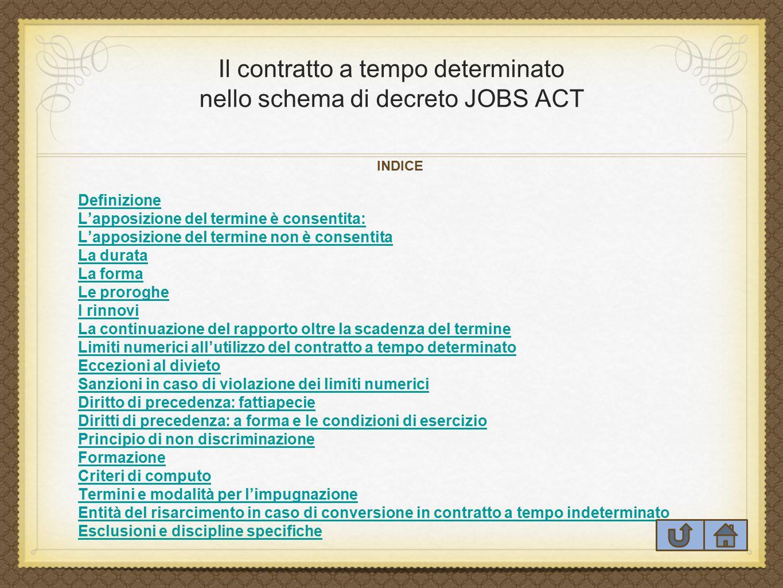 Il contratto a tempo determinato nello schema di decreto JOBS ACT