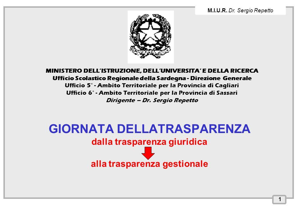 M.I.U.R. Dr. Sergio Repetto MINISTERO DELL'ISTRUZIONE, DELL'UNIVERSITA' E DELLA RICERCA.