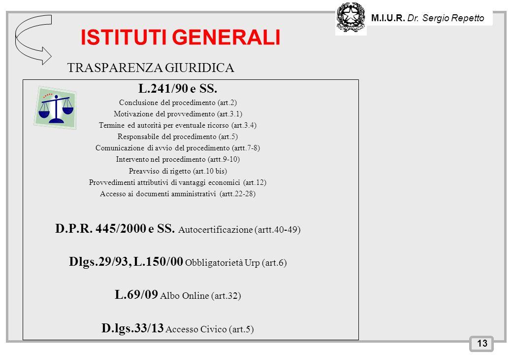 ISTITUTI GENERALI TRASPARENZA GIURIDICA L.241/90 e SS.