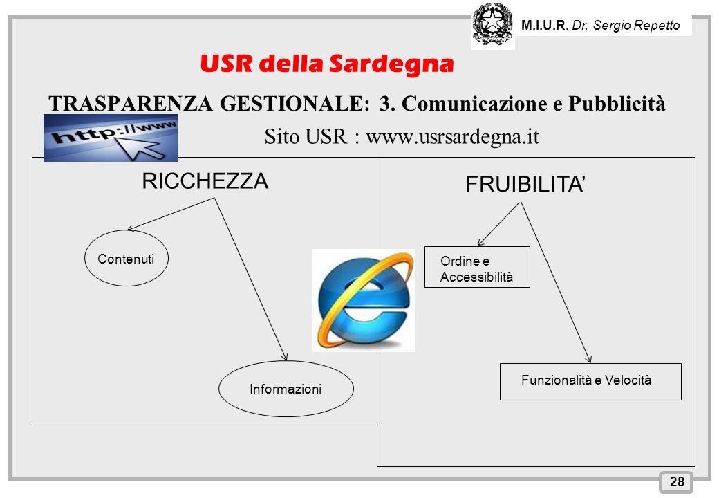 M.I.U.R. Dr. Sergio Repetto USR della Sardegna. TRASPARENZA GESTIONALE: 3. Comunicazione e Pubblicità.
