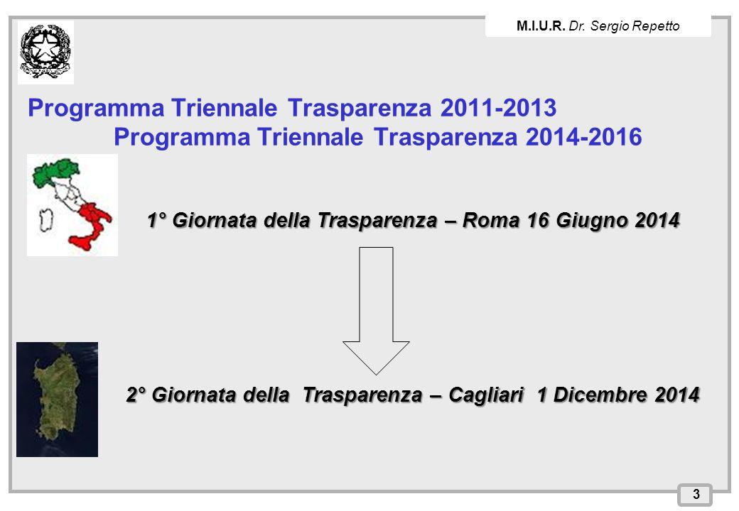 M.I.U.R. Dr. Sergio Repetto Programma Triennale Trasparenza 2011-2013 Programma Triennale Trasparenza 2014-2016.