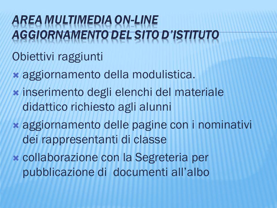 AREA Multimedia on-line Aggiornamento del sito d'Istituto
