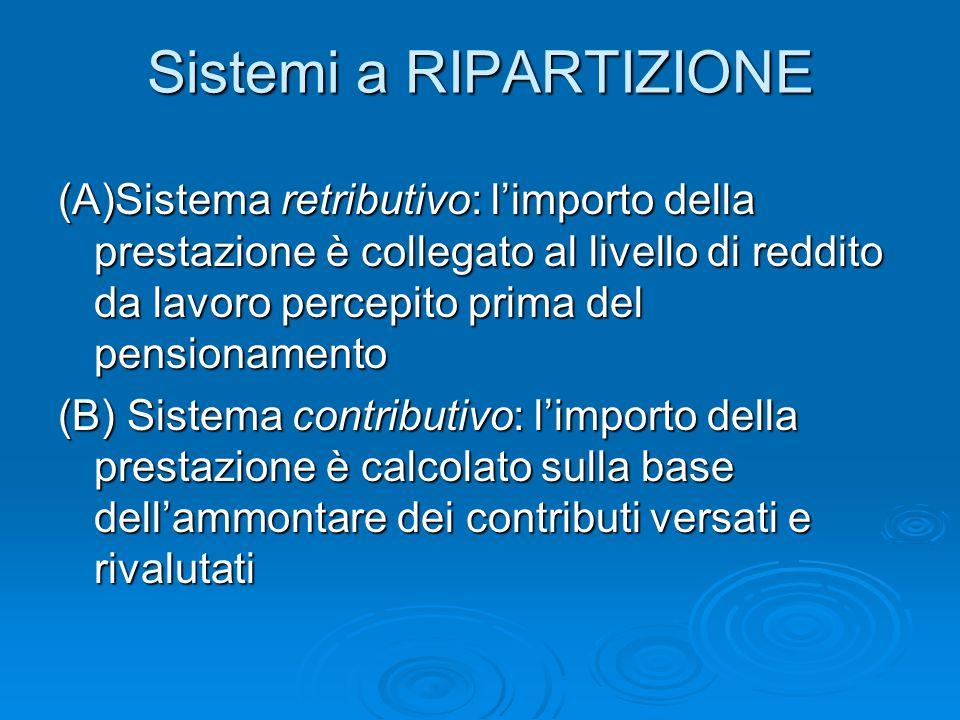 Sistemi a RIPARTIZIONE