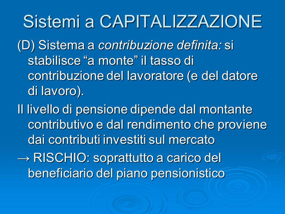 Sistemi a CAPITALIZZAZIONE