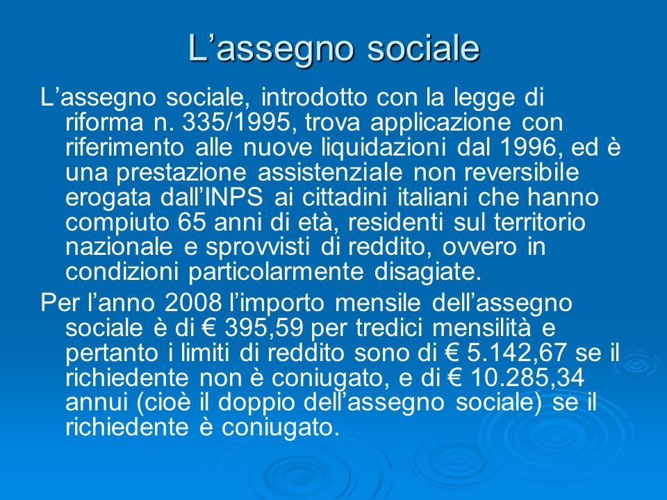 L'assegno sociale