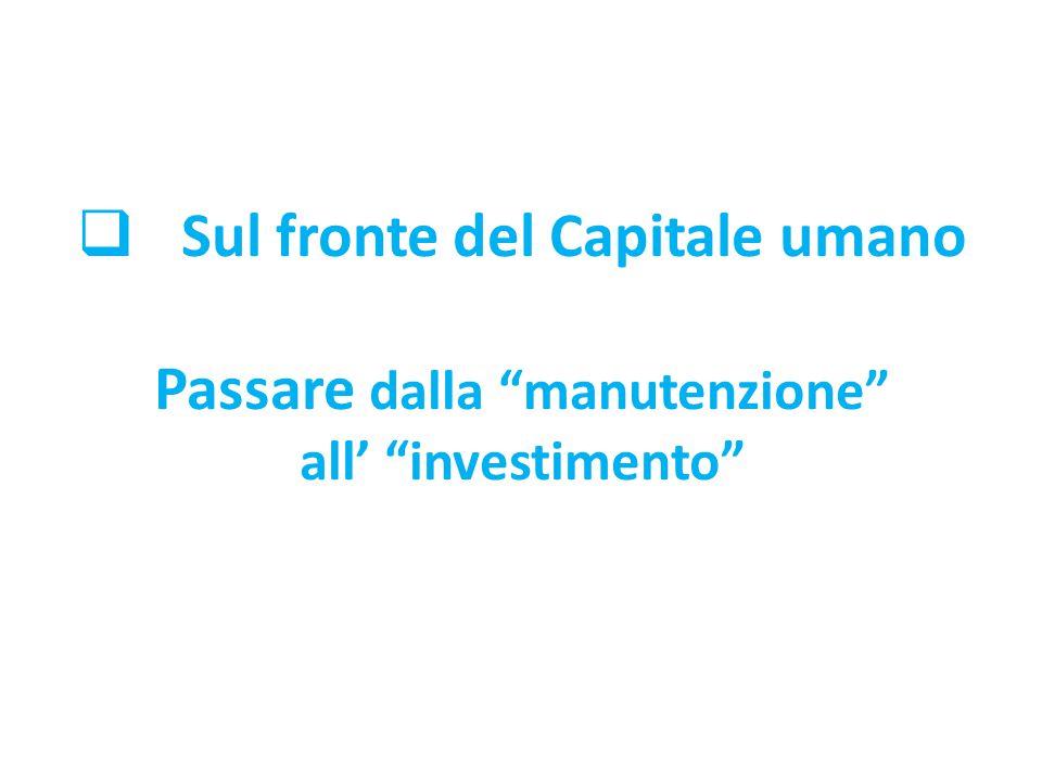 Sul fronte del Capitale umano Passare dalla manutenzione all' investimento