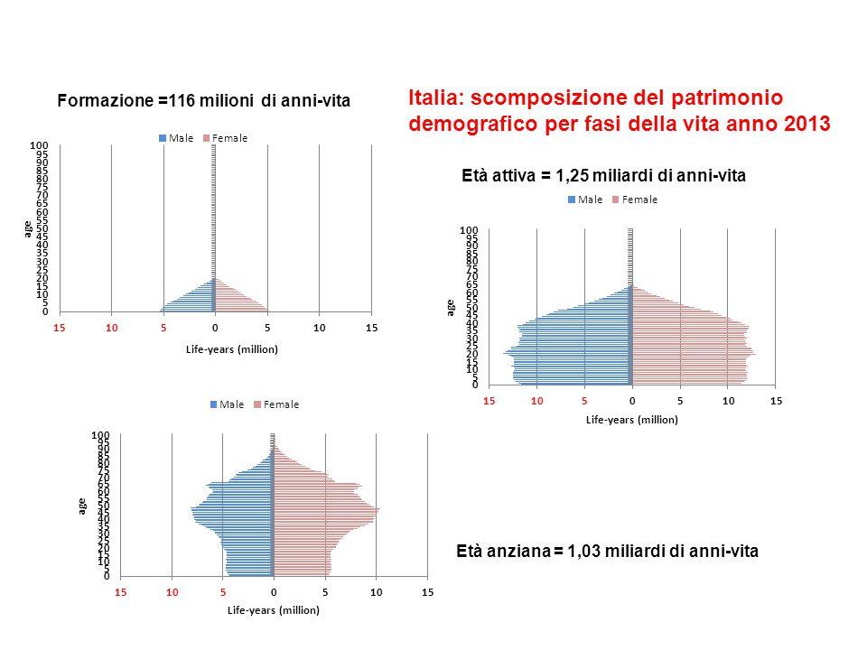 Italia: scomposizione del patrimonio demografico per fasi della vita anno 2013