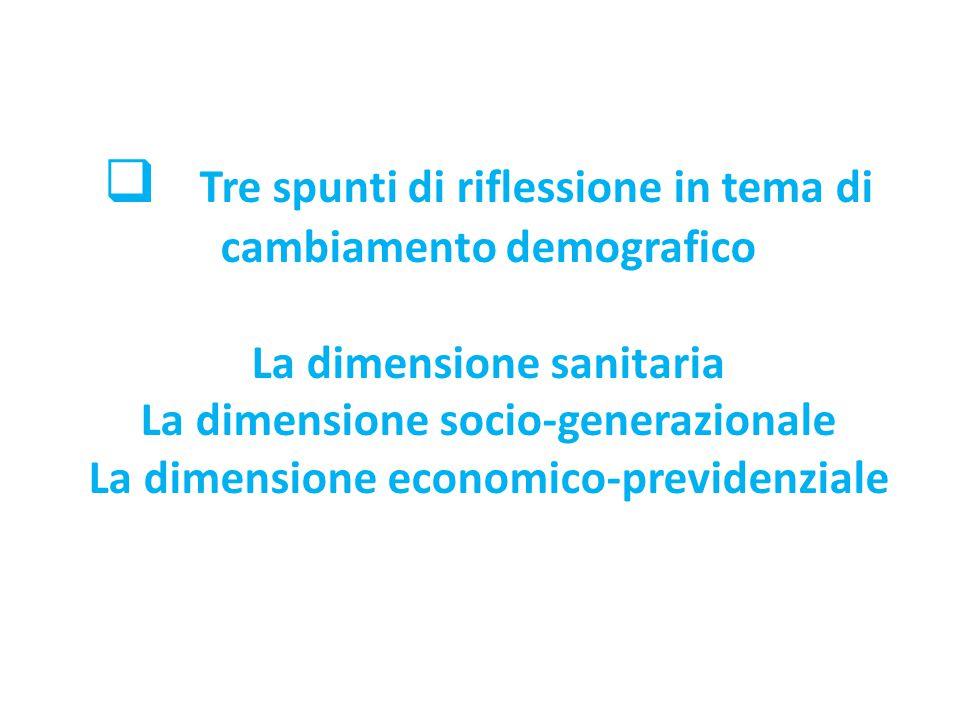 Tre spunti di riflessione in tema di cambiamento demografico La dimensione sanitaria La dimensione socio-generazionale La dimensione economico-previdenziale
