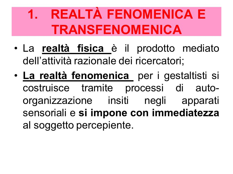 1. REALTÀ FENOMENICA E TRANSFENOMENICA