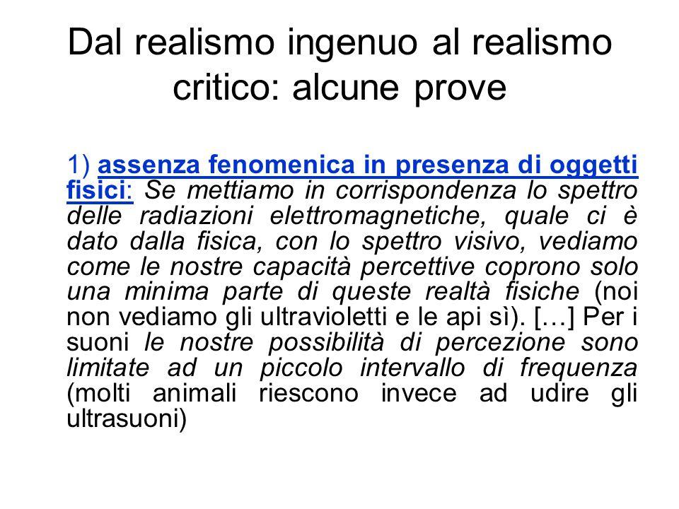 Dal realismo ingenuo al realismo critico: alcune prove