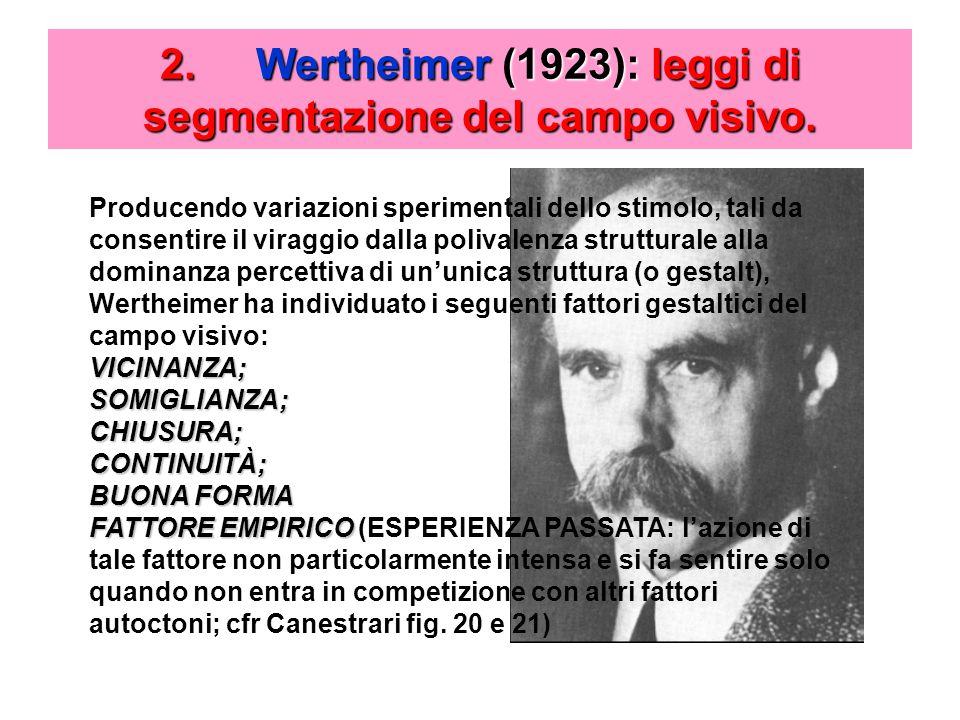 2. Wertheimer (1923): leggi di segmentazione del campo visivo.