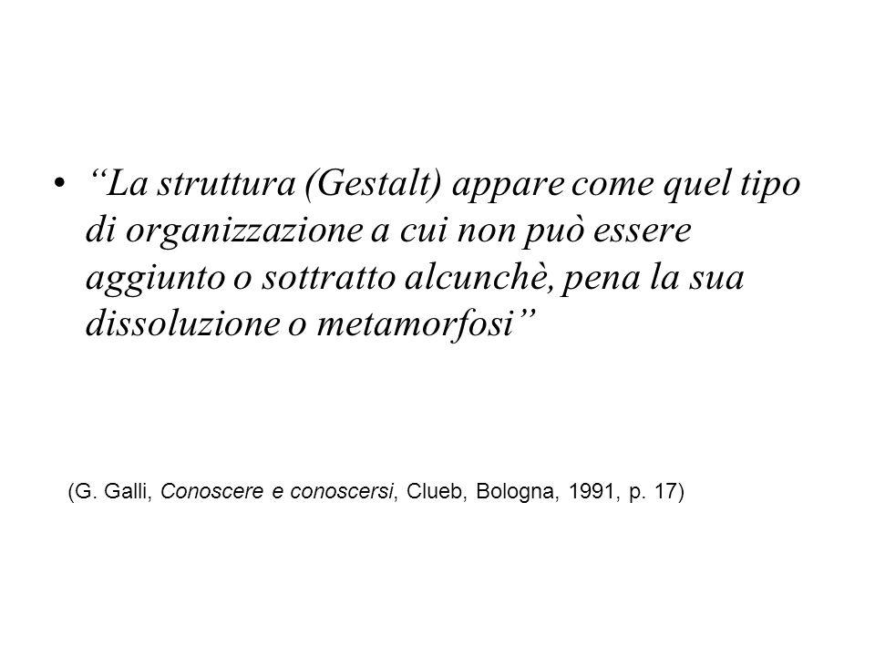 La struttura (Gestalt) appare come quel tipo di organizzazione a cui non può essere aggiunto o sottratto alcunchè, pena la sua dissoluzione o metamorfosi