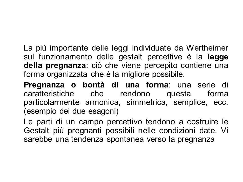 La più importante delle leggi individuate da Wertheimer sul funzionamento delle gestalt percettive è la legge della pregnanza: ciò che viene percepito contiene una forma organizzata che è la migliore possibile.