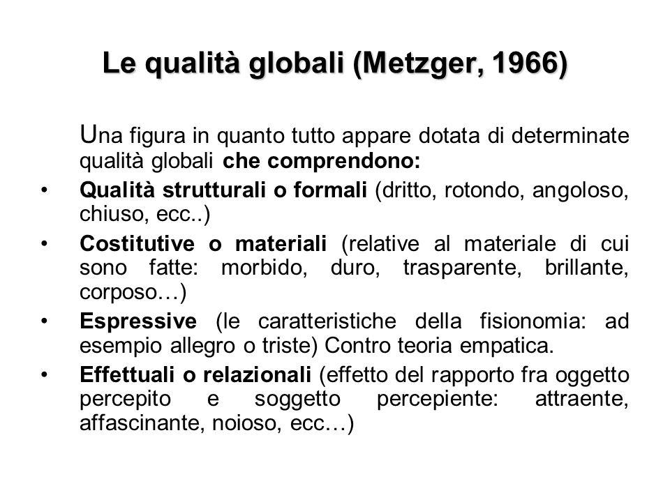 Le qualità globali (Metzger, 1966)