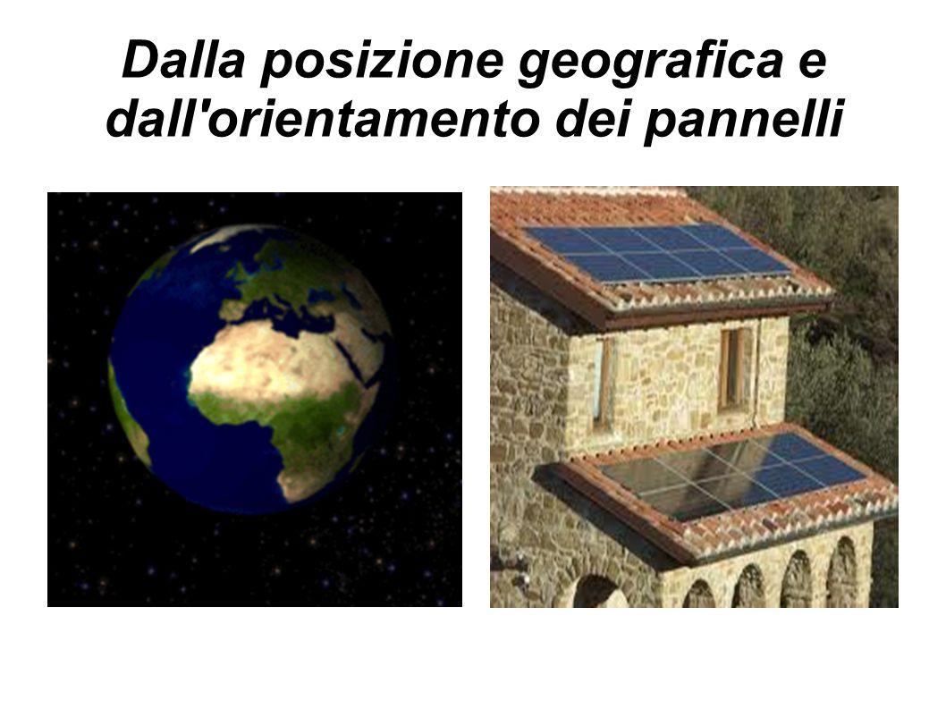 Dalla posizione geografica e dall orientamento dei pannelli