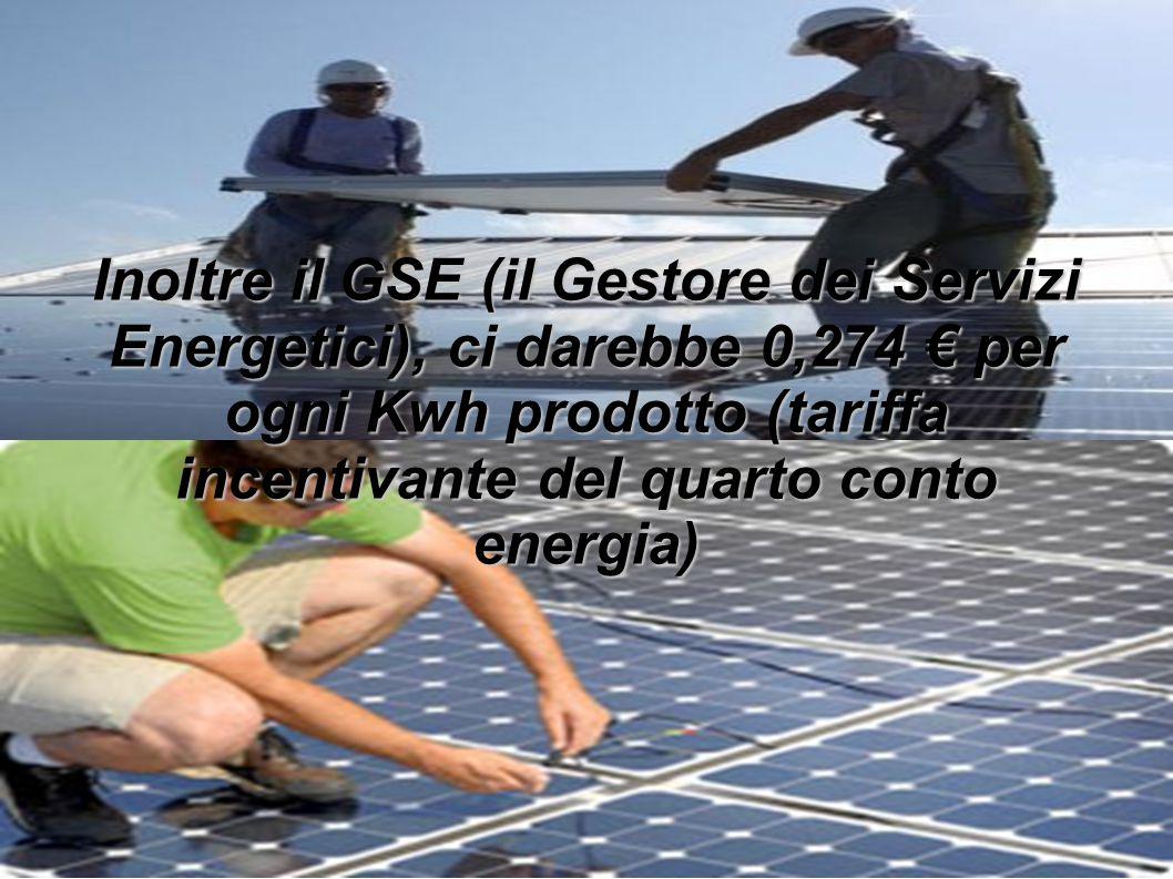 Inoltre il GSE (il Gestore dei Servizi Energetici), ci darebbe 0,274 € per ogni Kwh prodotto (tariffa incentivante del quarto conto energia)