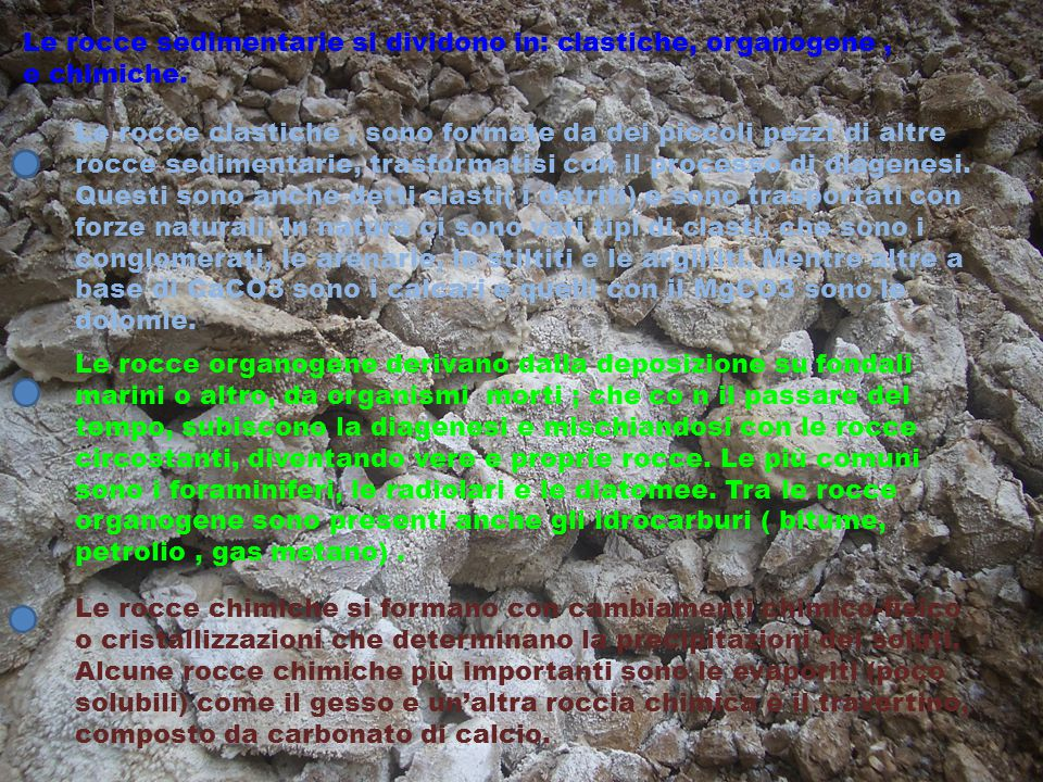 Le rocce sedimentarie si dividono in: clastiche, organogene , e chimiche.